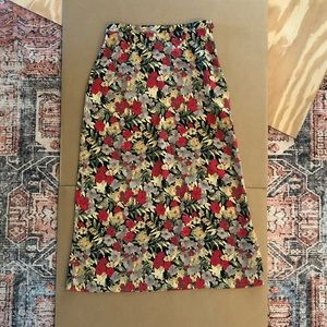 Christopher & Banks Floral Red Yellow Maxi Skirt 6